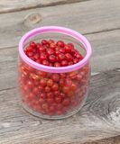 Red currants in glass jarl Royalty Free Stock Image
