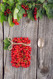 Red currants like vial with twine and metal spoon on wooden background, creative idea for healthy lifestyle, raw food Royalty Free Stock Photo