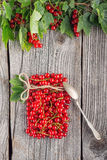 Red currants like vial with twine and metal spoon on wooden background, creative idea for healthy lifestyle, raw food Stock Images