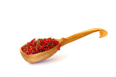 Red currants in the scoop isolated on white. Ripe red currants in the scoop isolated on white background Stock Images