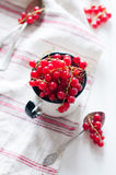 Red currants in a white enamel mug Stock Photo