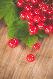 Red currants on a wooden surface Royalty Free Stock Photography