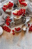Red currants and yogurt. In a glass close up Royalty Free Stock Images