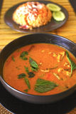 Red curry asian thai soup with chicken Royalty Free Stock Photos