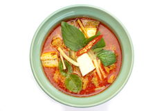 Red Curry Chicken. Thai Food Red Curry Chicken on white background stock photo