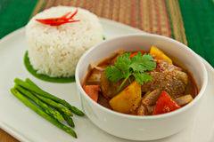 Red curry chicken with rice Royalty Free Stock Images