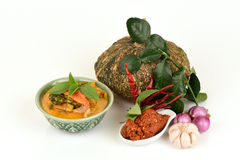 Red Curry with Pork and Pumpkin and Ingredient: Pumpkin, pork slice, Chili paste,. Basil, Thai Basil, Lemon Leaf, Kaffir lime leaf Royalty Free Stock Photos