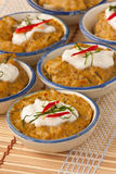 Red curry pudding. Thai traditional dish, Steamed red curry pudding Royalty Free Stock Photo