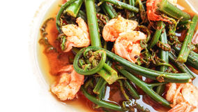 Red curry shrimps Stock Photo