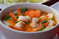 Red curry soup with shrimp Royalty Free Stock Photos