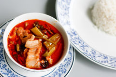 Red curry. In Thai style served with rice Royalty Free Stock Photo