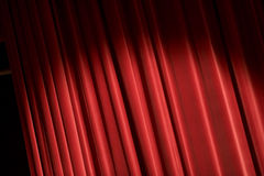 Red Curtain. Red stage curtain, background texture with copyspace Royalty Free Stock Photos