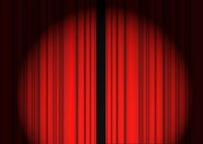 Red Curtain. Closed Red Curtain Drapery on the Black Background With Light Shoot stock illustration