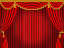 Red curtain. Classic theatrical red curtain Retro Royalty Free Stock Photo