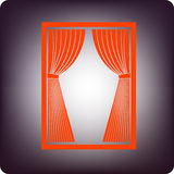 Red curtain. Icon on rectangular frame on bluish background Royalty Free Stock Image