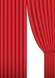 Red curtain. Open red theater curtain, background,  illustration Stock Photography