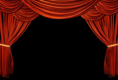 Red curtain. Vintage red curtain isolated on black stock photos