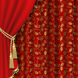 Red curtain. With gold pattern. Clipping Mask Royalty Free Stock Photo