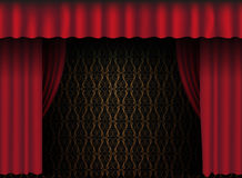 Red Curtain. Red Theatre Curtain - Vintage Wallpaper in Background - vector Stock Photo