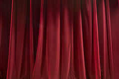 Red curtain. Closed red curtain - background abstract texture Stock Image