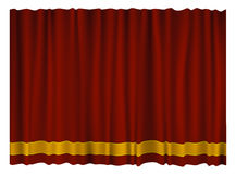 Red Curtain. Red colored velvet curtain on a stage or in theater Stock Images