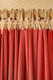 Red curtain. At holder rings Stock Photography