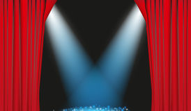 Red Curtain. With blue spotlight in the background Stock Image