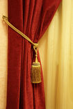 Red curtain. With a tassel and a rope Royalty Free Stock Image
