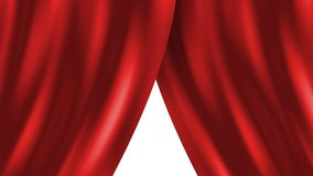 Red curtain. Opening or closing Stock Photo