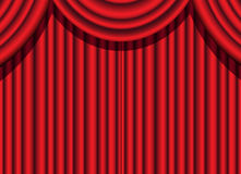Red curtain. Red velvet curtain of a theatrical event stock illustration