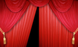 Red curtain. S of a classical theater Stock Images