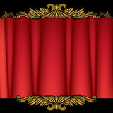 Red Curtain. 3D image of a red curtain with black golden banners Stock Photos