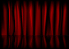 Red curtain backbround. Illustration of a red curtain background with reflection Stock Illustration
