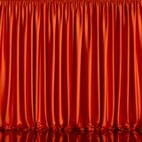 Red curtain background. With reflective floor. 3d rendering illustration Stock Image