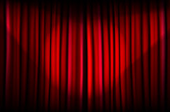 Red curtain with beams of light Stock Photography
