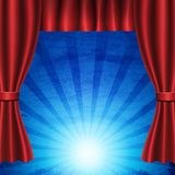Red curtain on blue circus vintage background. Design for presentation, concert, show