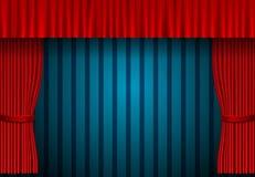 Red curtain on blue vintage background. Design for presentation, concert, show
