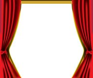 Red curtain border. Illustration of red and gold curtain border isolated over white background Stock Image