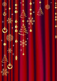 Red curtain with Christmas decoration. Royalty Free Stock Photography