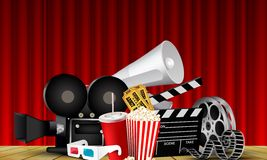 Red curtain cinema films and popcorn on the stage. Illustration of Red curtain cinema films and popcorn on the stage Royalty Free Stock Image