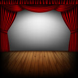 Red curtain and cinema screen Stock Images