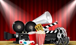 Red curtain cinemas films on the stage with stage lights Royalty Free Stock Photos