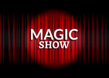 Red curtain with circle light. Magic show concept poster template design Stock Photo