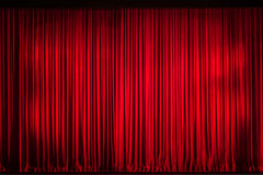 Red Curtain. Closed on the stage of opening night royalty free stock images