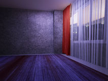 Red curtain in the dark room Stock Photography