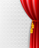 Red Curtain. On the decorative vintage background Stock Photos