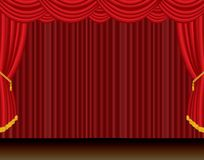 Red curtain dramatic stage Stock Photography