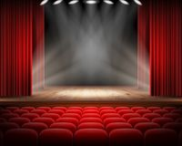 Red curtain and empty theatrical scene. Open red curtain and empty illuminated theatrical scene realistic illustration. Grand opening concept, performance or royalty free stock photo