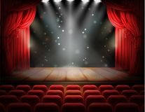 Red curtain and empty theatrical scene. Open red curtain and empty illuminated theatrical stage with falling sparks, confetti realistic . Grand opening concept Stock Illustration