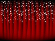 Red curtain with falling stars Stock Photos